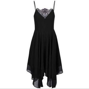 Miss Selfridge black strap lace midi dress